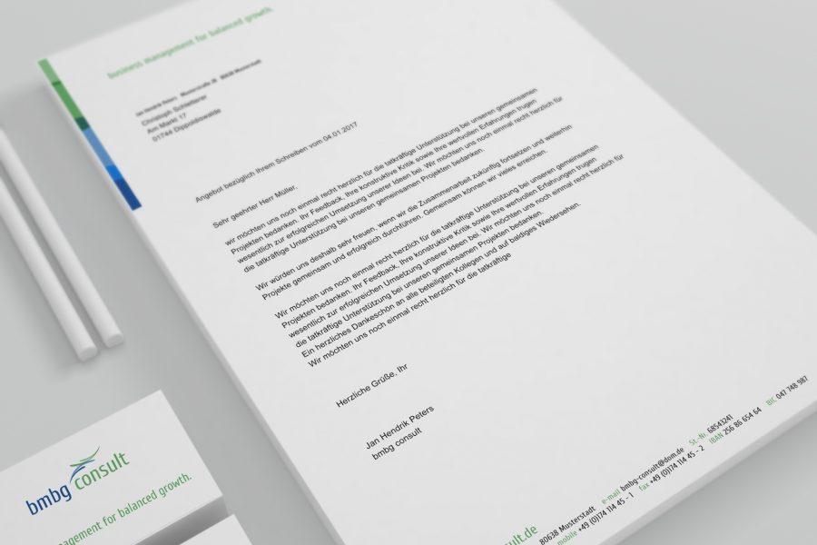Design Geschäftsausstattung bmbg consult von facit design