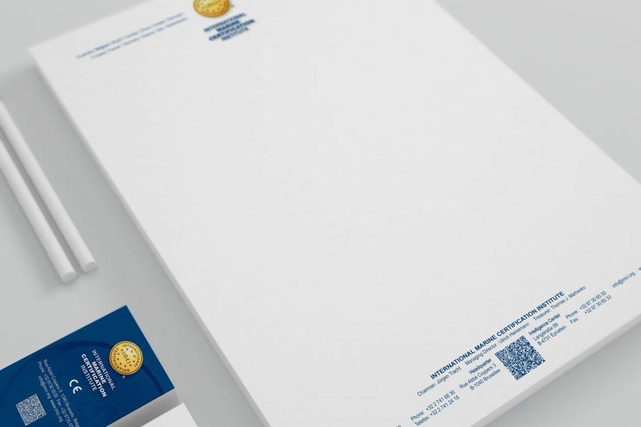 Briefpapier und Visitenkarte des IMCI.