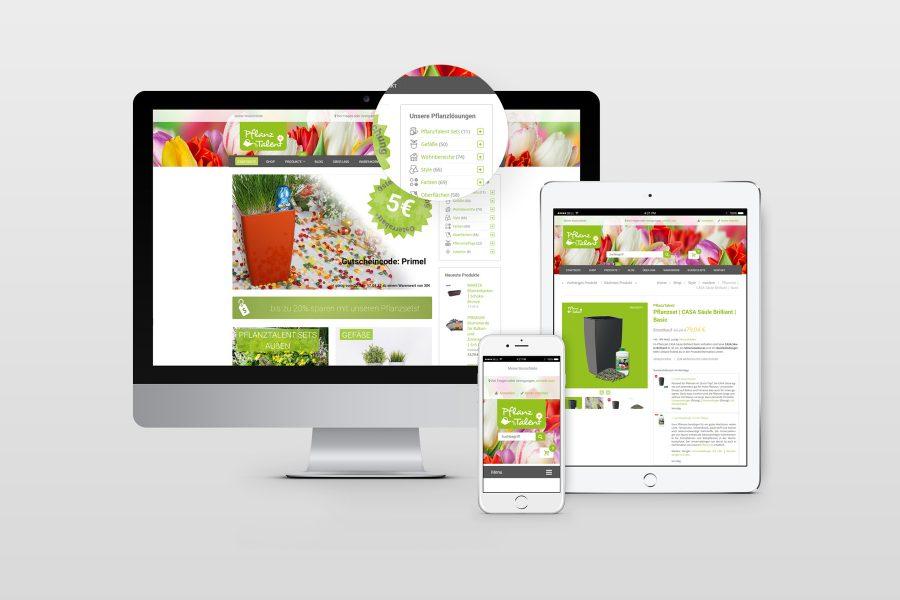 Webdesign Webshop Pflanztalent von facit design
