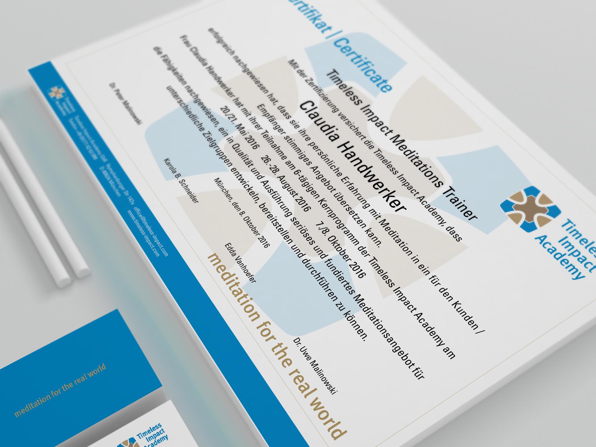 Grafik Design Zertifikat für Timeless Impact Academy von facit design