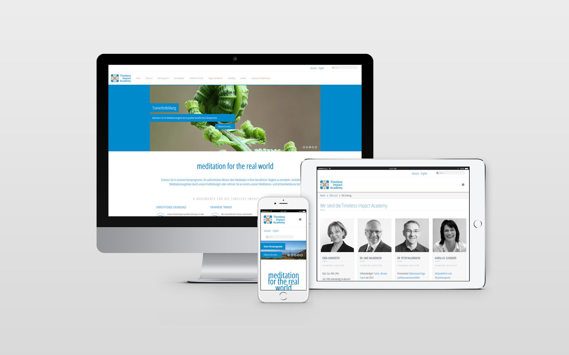 Webdesign für Timeless Impact Academy von facit design