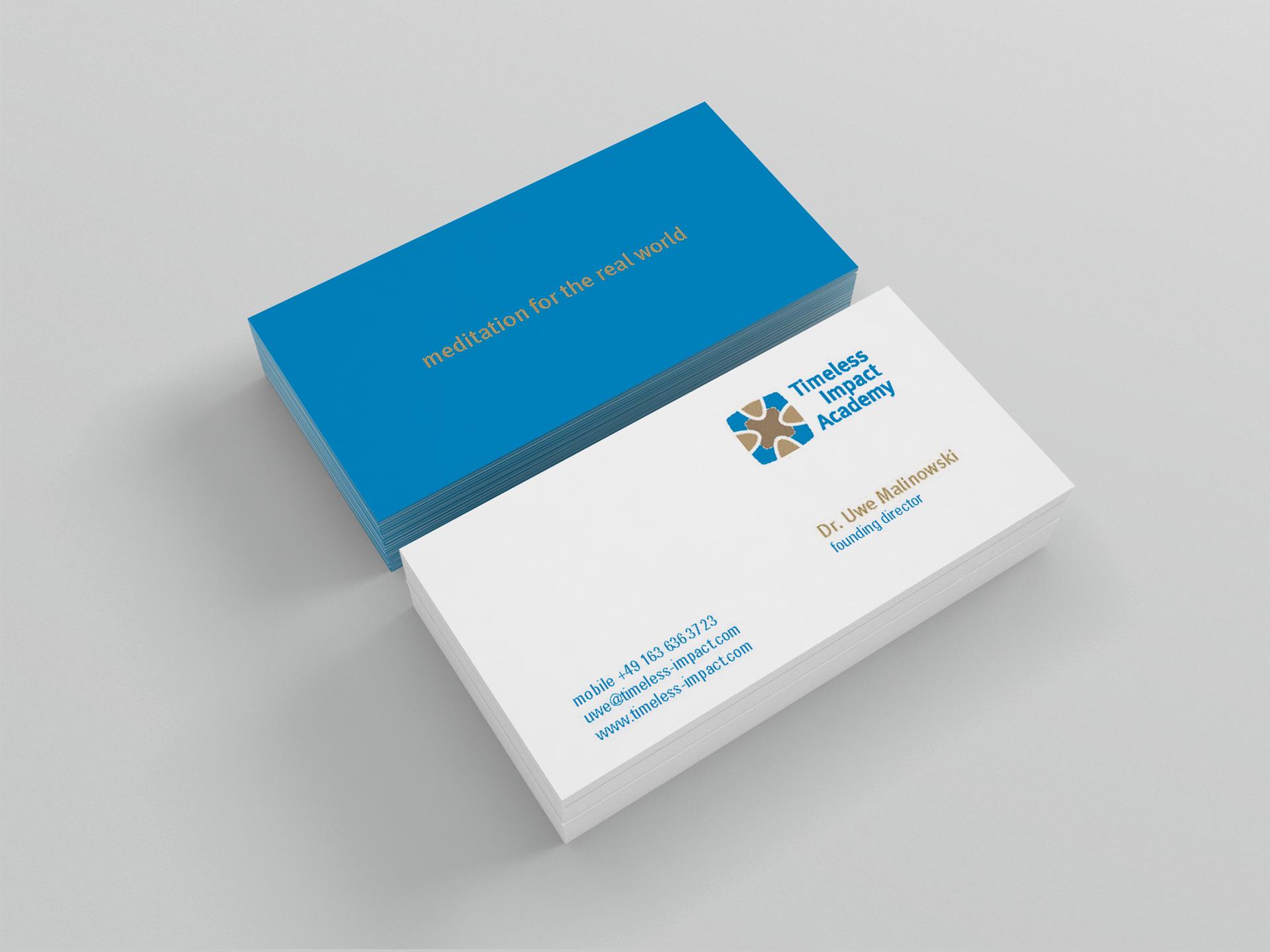 Grafik Design Visitenkarten für timeless impact academy von facit design